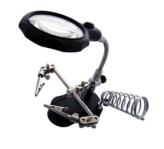 Multifunctional Magnifying Glass and Soldering Iron Stand with LED Light sharvielectronics.com