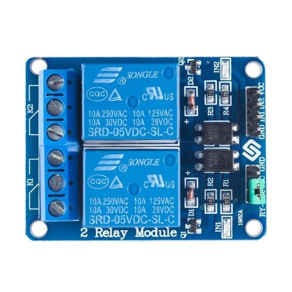 2 Channel 5V Relay Module with Optocoupler ( DC 30V10A, AC 250V10A) sharvielectronics.com