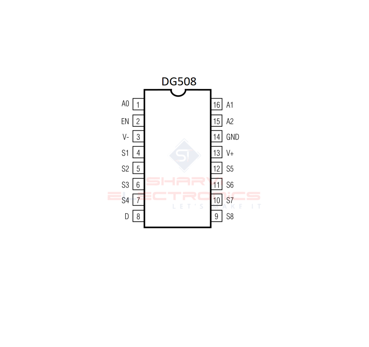 DG508 IC-CMOS Analog Multiplexer IC