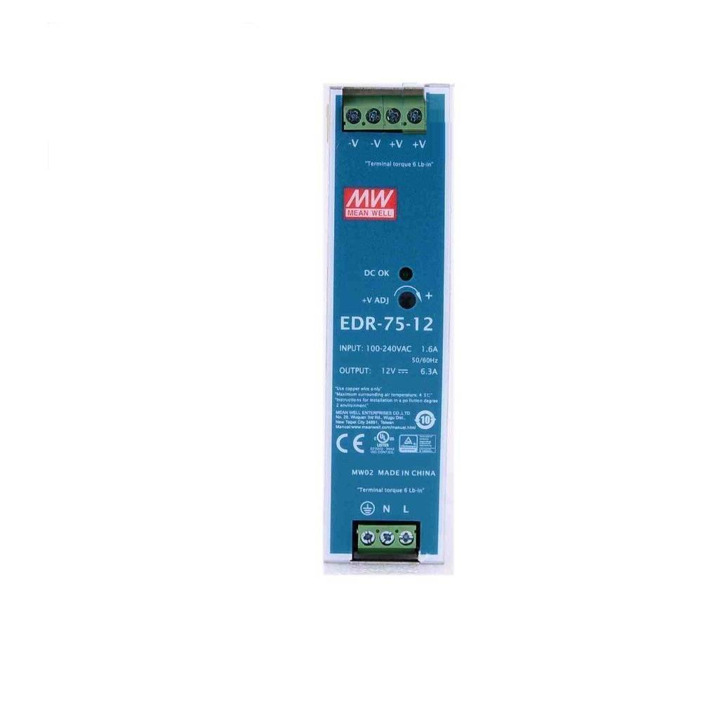 Sharvielectronics: Best Online Electronic Products Bangalore | EDR 75 12 Mean well SMPS – 12V 6.3A 75.6W Din Rail Metal Power Supply | Electronic store in bangalore