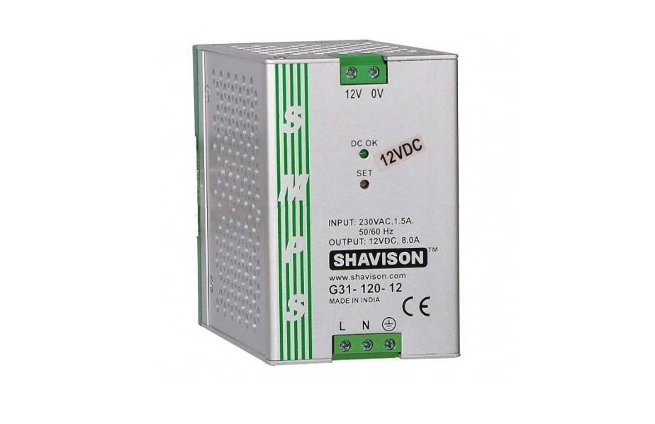 Sharvielectronics: Best Online Electronic Products Bangalore | G31 120 12 Shavison SMPS – 12V 8A – 96W DIN Rail Mountable Metal Power Supply | Electronic store in bangalore