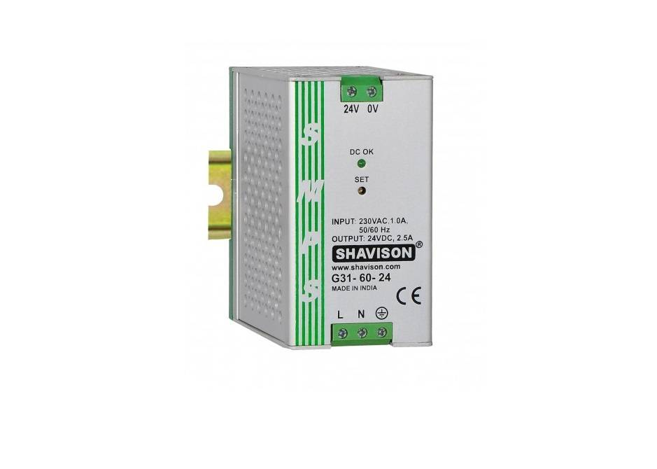 Sharvielectronics: Best Online Electronic Products Bangalore | G31 60 24 Shavison SMPS – 24V 2.5A – 60W DIN Rail Mountable Metal Power Supply | Electronic store in bangalore