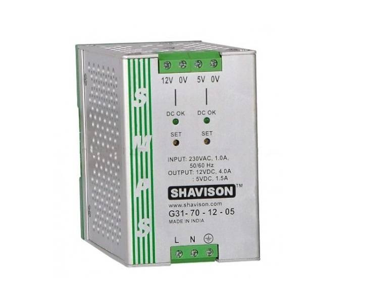 Sharvielectronics: Best Online Electronic Products Bangalore | G31 70 12 05 Shavison SMPS 12V 4A 48W and 5V 1.5A 7.5W Dual Output DIN Rail Mountable Metal Power Supply | Electronic store in bangalore