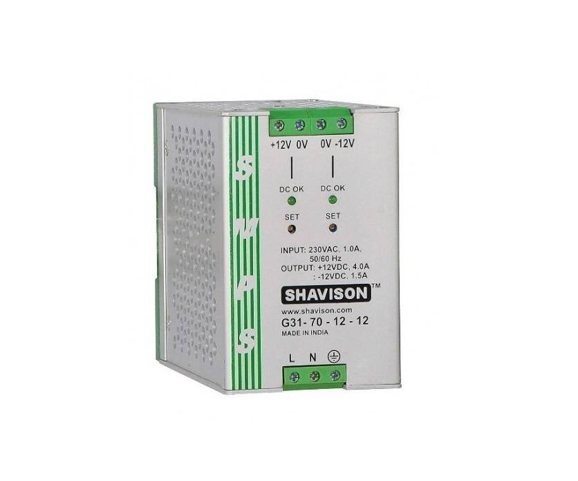 Sharvielectronics: Best Online Electronic Products Bangalore | G31 70 12 12 Shavison SMPS 12V 4A 48W and 12V 1.5A 18W Dual Output DIN Rail Mountable Metal Power Supply | Electronic store in bangalore