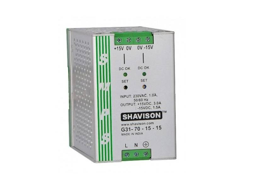 Sharvielectronics: Best Online Electronic Products Bangalore | G31 70 15 15 Shavison SMPS 15V 3A 45W and 15V 1.5A 22.5W Dual Output DIN Rail Mountable Metal Power Supply | Electronic store in bangalore
