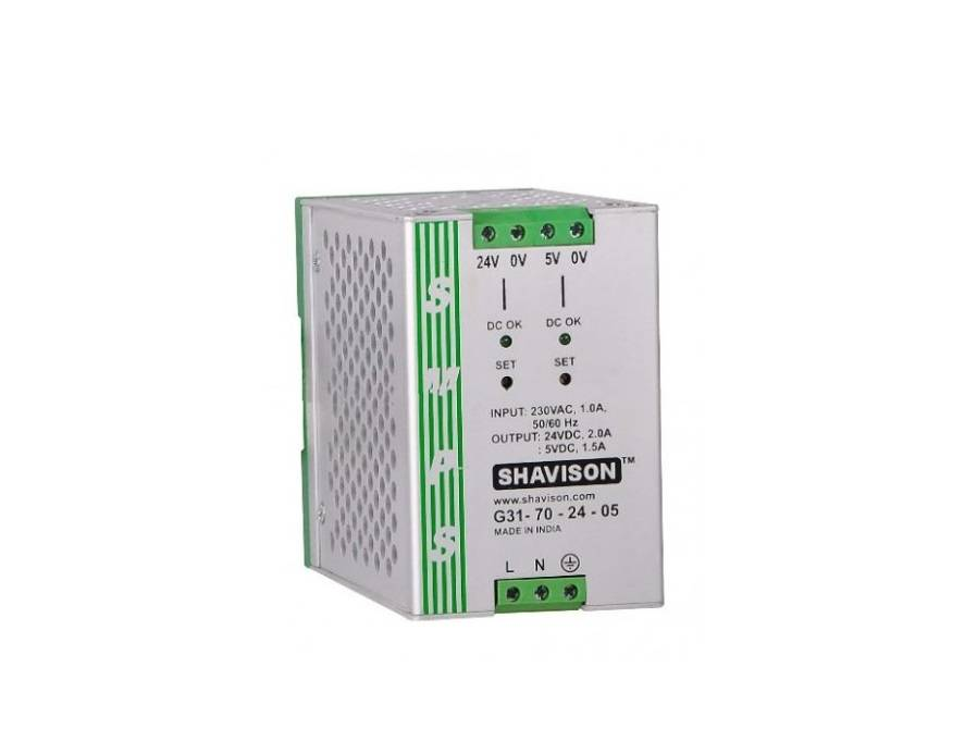 Sharvielectronics: Best Online Electronic Products Bangalore | G31 70 24 05 Shavison SMPS 24V 2A 48W and 5V 1.5A 7.5W Dual Output DIN Rail Mountable Metal Power Suppl | Electronic store in bangalore