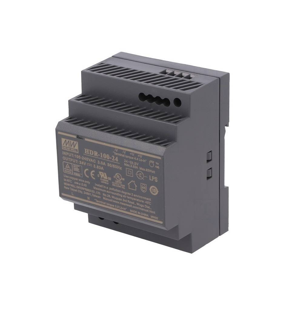 Mean well SMPS HDR-100-24 ( 24V 3.83A 92W) Din Rail Metal Power Supply sharvielectronics.com
