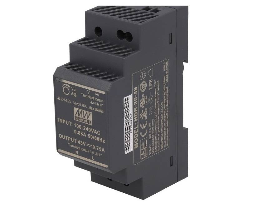 Sharvielectronics: Best Online Electronic Products Bangalore | HDR 30 48 Mean well SMPS – 48V 0.75A 36W Din Rail Metal Power Supply | Electronic store in bangalore