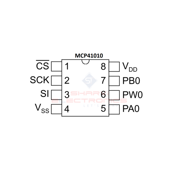 Sharvielectronics: Best Online Electronic Products Bangalore   MCP41010 IC 8 Bit Digital 10K Potentiometer with SPI Interface IC   Electronic store in bangalore