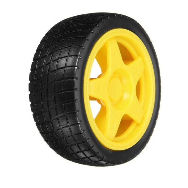 Tracked Rubber Wheel for BO Motor-Yellow-65mm x 26mm