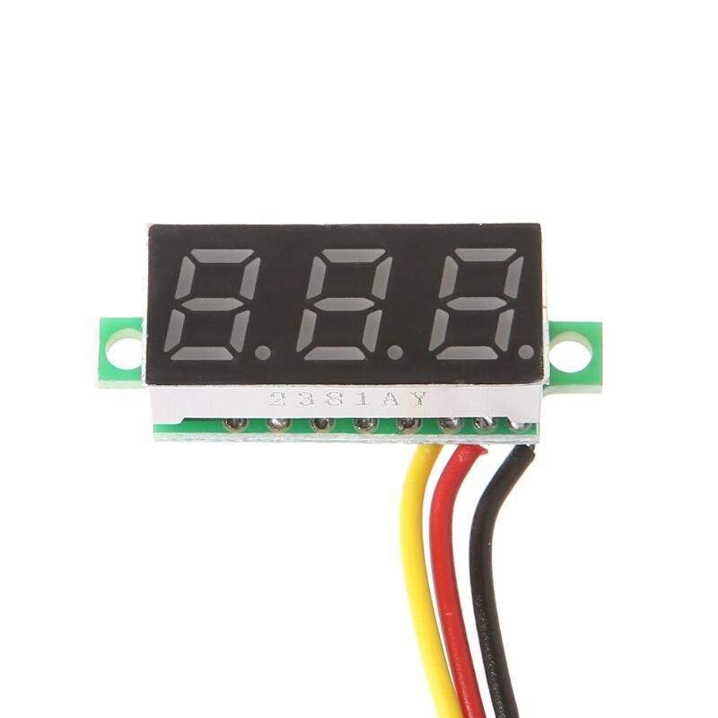 0.28inch 0-100V Three Wire DC Voltmeter Red sharvielectronics.com