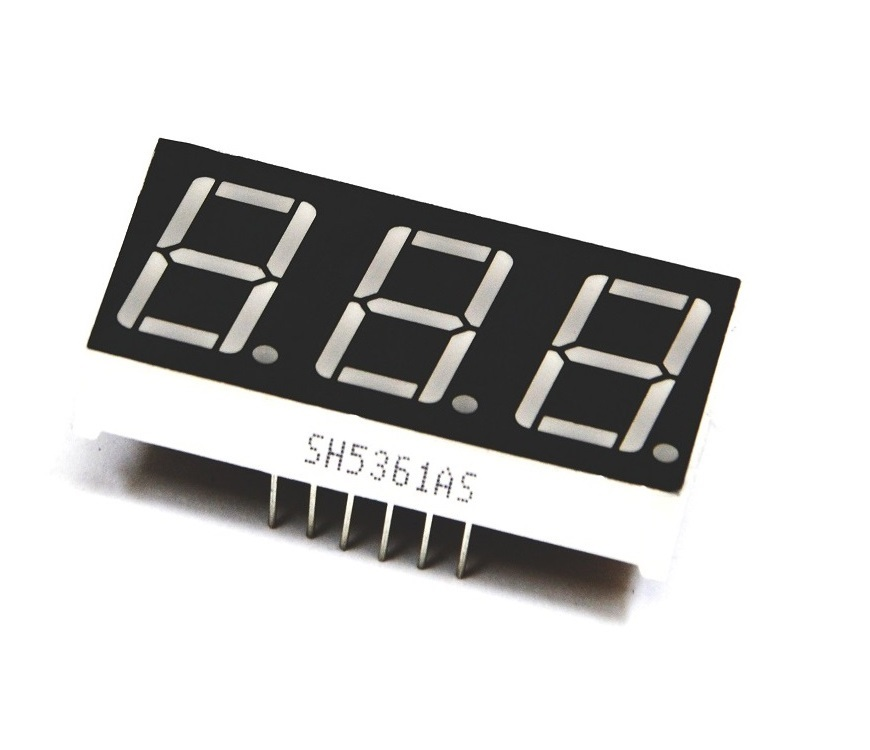 0.56 inch 3 Digit 7 Segment Red LED Display CC 12pin