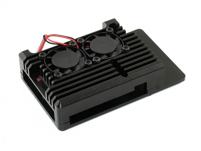 Black Armour Aluminium Alloy Case For Raspberry Pi 4 Dual Cooling Fan sharvielectronics.com