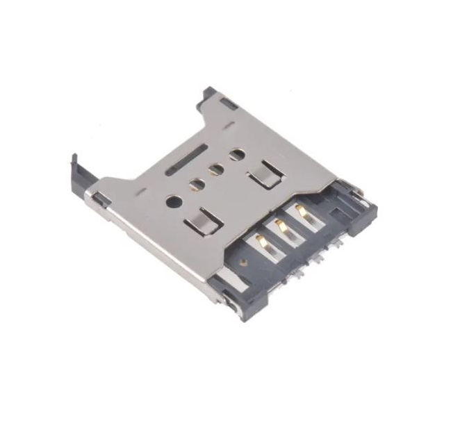 Sharvielectronics: Best Online Electronic Products Bangalore | SIM Card Socket Metal Hinge Type 6Pin with Solder Termination 1 2 | Electronic store in bangalore