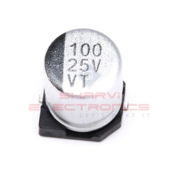100uF 25V Electrolytic Capacitor - SMD - Pack of 5