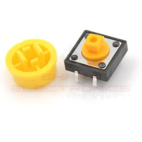 Tactile Push Button Switch With Round Cap - 12x12x7.3mm sharvielectronics.com