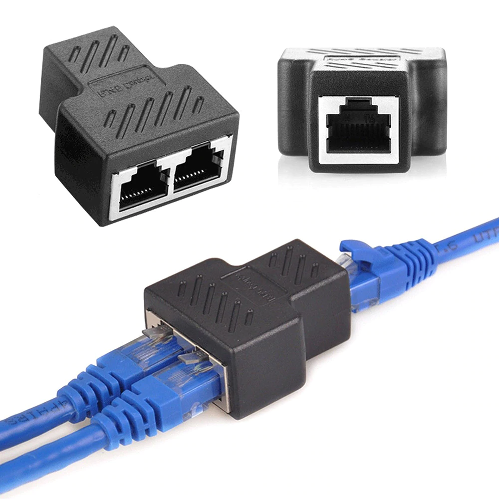1 To 2 Way RJ45 Ethernet Network Cable Female Splitter Connector Adapter sharvielectronics.com