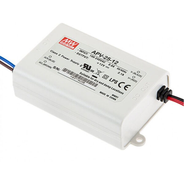 APV-25-12 Mean Well SMPS 12V 2.1A 25.2W LED Power Supply sharvielectronics.com