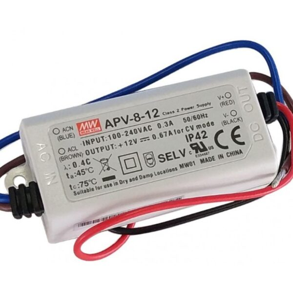 APV-8-12 Mean Well SMPS - 12V 0.67A 8.04W LED Power Supply sharvielectronics.com