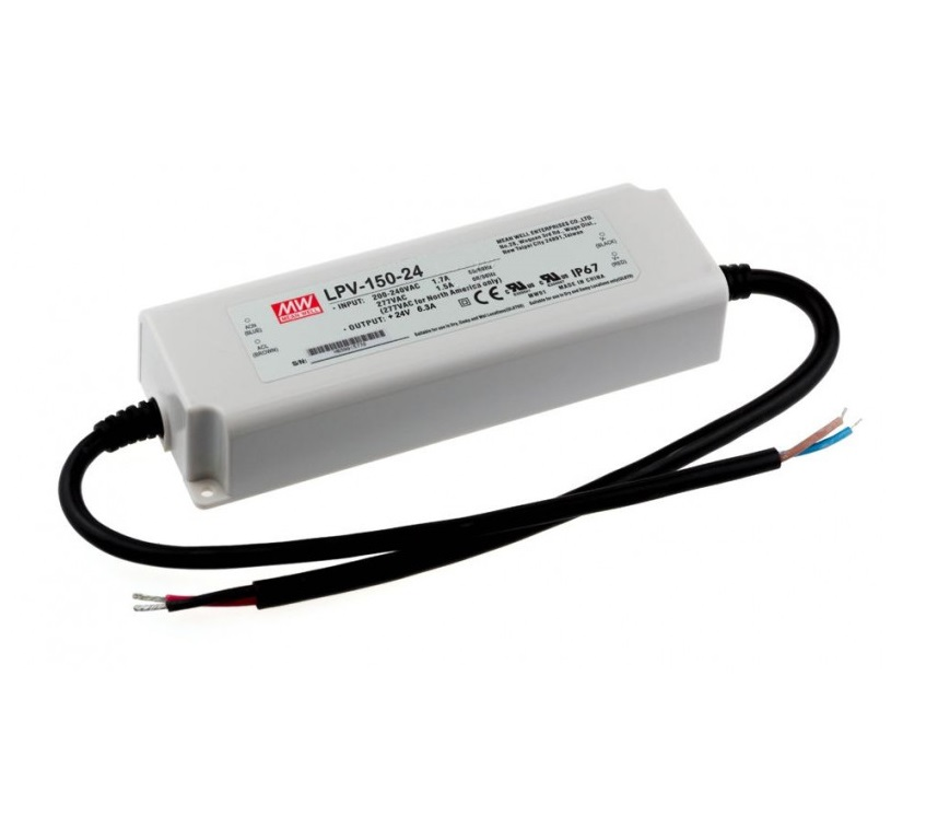 LPV-150-24 Mean Well SMPS - 24V 6.3A 151.2W Waterproof LED Power Supply sharvielectronics.com