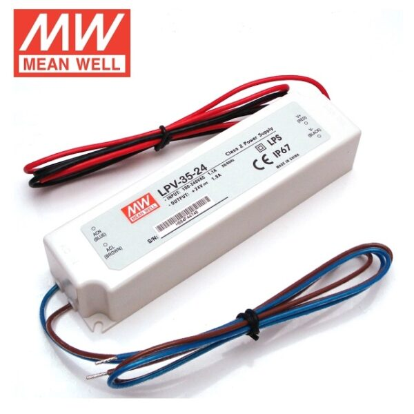 LPV-35-24 Mean Well SMPS - 24V 1.5A 36W Waterproof LED Power Supply sharvielectronics.com
