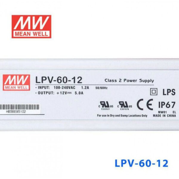 LPV-60-12 Mean Well SMPS - 12V 5A 60W Waterproof LED Power Supply sharvielectronics.com