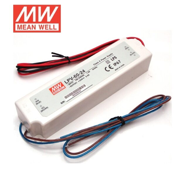 LPV-60-24 Mean Well SMPS - 24V 2.5A 60W Waterproof LED Power Supply sharvielectronics.com