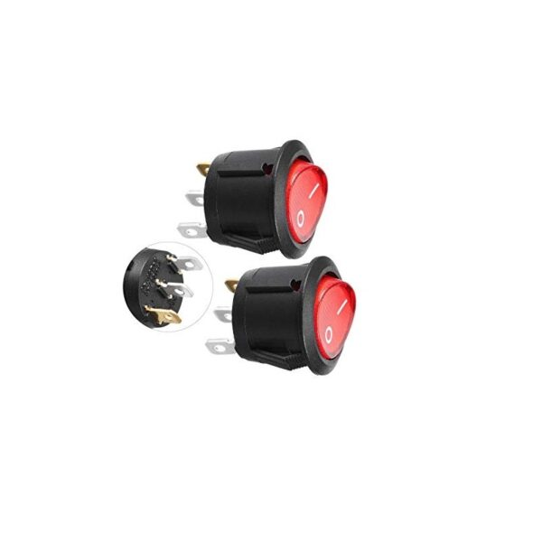 SPDT ON-OFF Round Rocker Switch with Light sharvielectronics.com