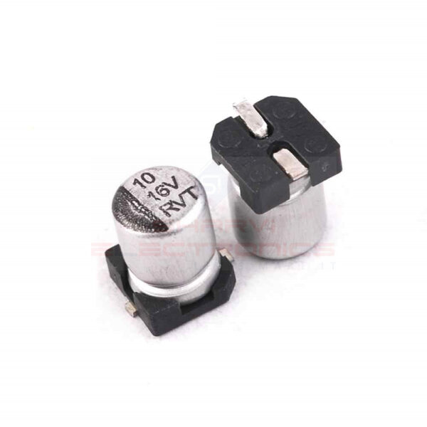10uF 16V Electrolytic Capacitor–SMD–Pack of 5 sharvielectronics.com