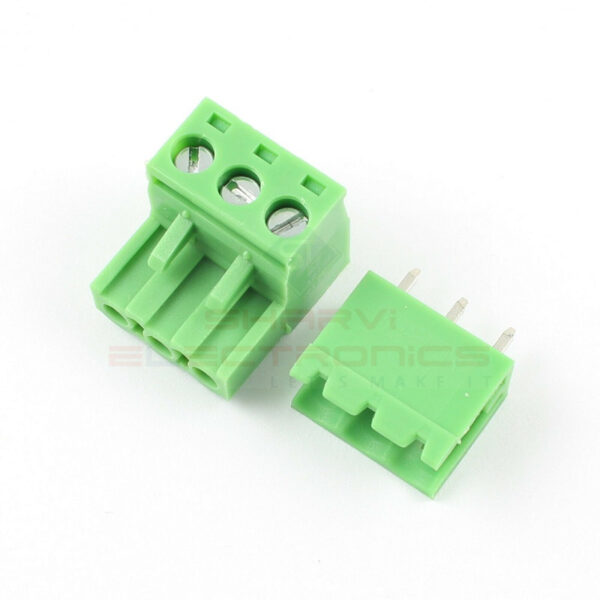 3 Pin Straight Screw Terminal Block Pluggable Plug Connector 5.08mm Pitch-Pair sharvielectronics.com