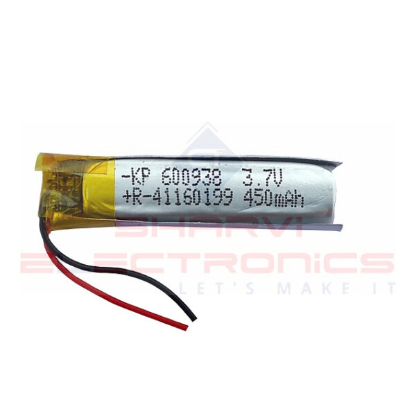 3.7V 450mAH (Lithium Polymer) Lipo Rechargeable Battery Model KP-600938 Sharvielectronics