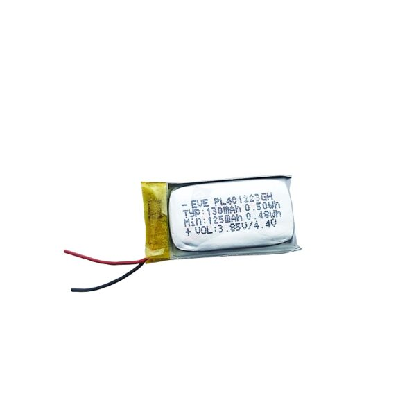 Battery Model: 401223 Material: Lithium Polymer Battery Type: 401223 Rechargeable Power Battery Voltage: 3.7V Capacity: 130 mAh / 0.50Wh sharvielectronics.com