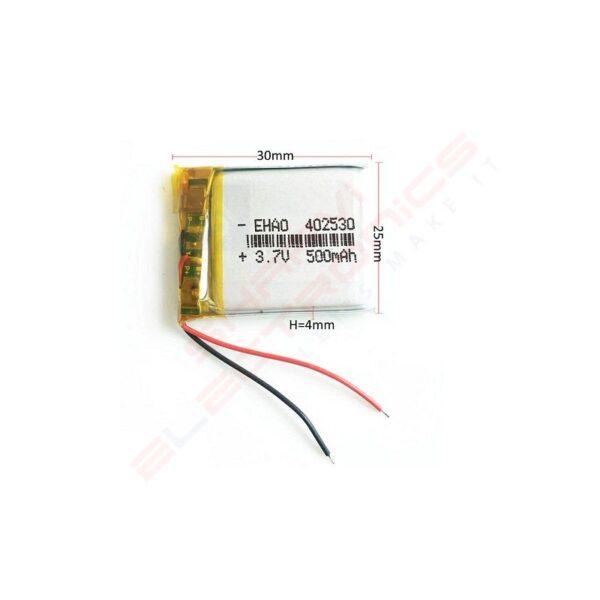 3.7V 500mAH Lipo Rechargeable Battery Model KP 402530