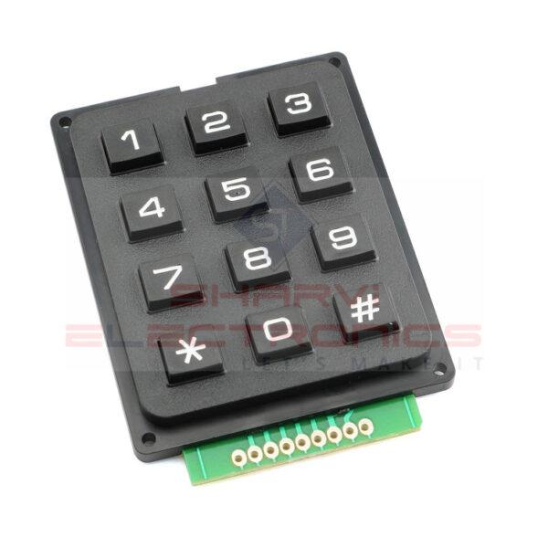 4×3 12-key Keyboard Keypad Telephone Style – Black Sharvielectronics