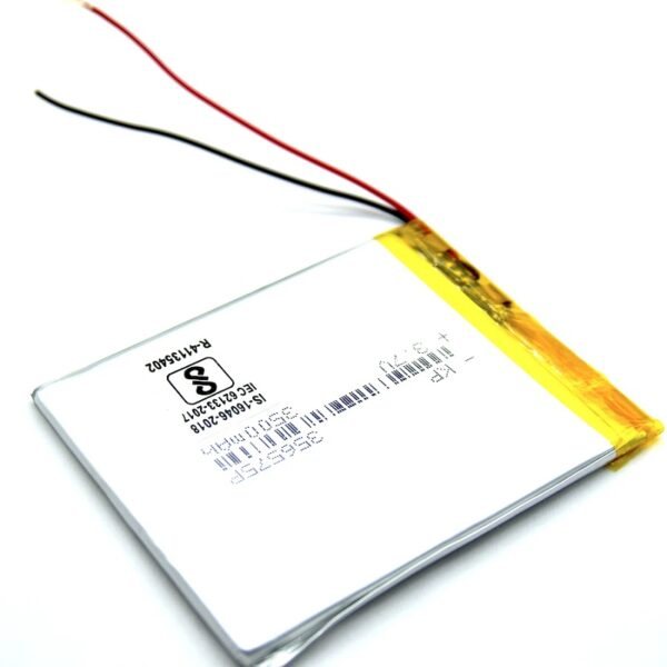 3.7V 3500mAH (Lithium Polymer) Lipo Rechargeable Battery Model KP-356575P Sharvielectronics